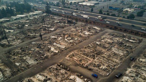 PHOTO A View Of Journeys End Mobile Home Park After Wildfire Passed Through In