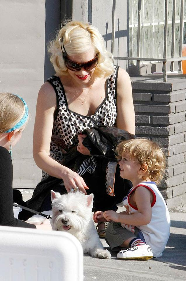 """Gwen Stefani looked on while son Kingston played with a furry friend at the Farmer's Market on Sunday. <a href=""""http://www.infdaily.com"""" target=""""new"""">INFDaily.com</a> - January 20, 2008"""