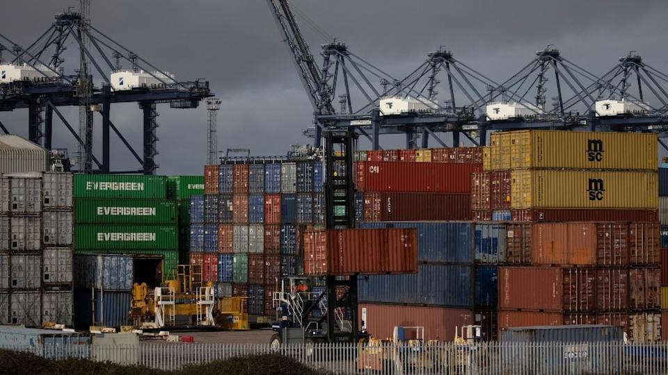containers stacked up at Felixstowe port