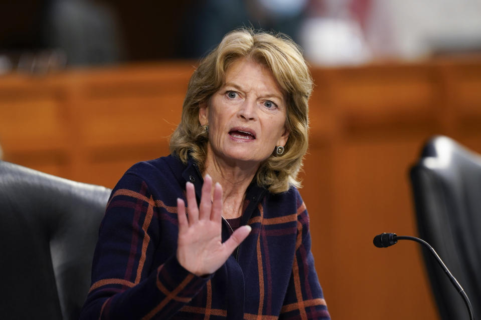 Sen. Lisa Murkowski, R-Alaska, speaks during a Senate Health, Education, Labor and Pensions Committee hearing on the federal coronavirus response on Capitol Hill in Washington, Thursday, March 18, 2021. (AP Photo/Susan Walsh, Pool)