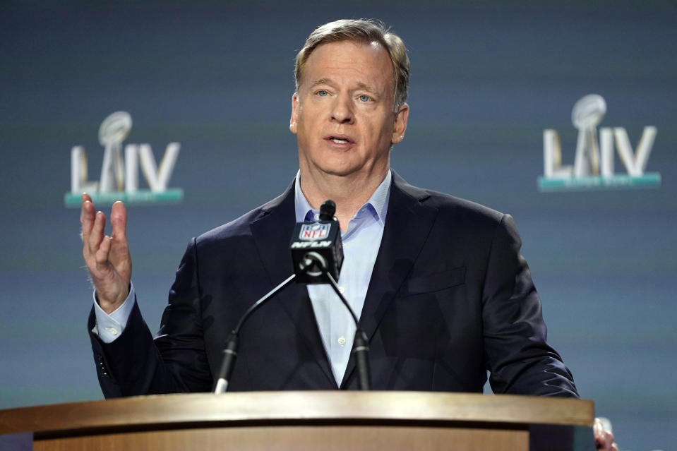 """FILE - In this Jan. 29, 2020, file photo, NFL Commissioner Roger Goodell answers a question during a news conference for the NFL Super Bowl 54 football game in Miami. Baltimore Ravens linebacker Matthew Judon criticized the timing of Goodell's assertion that """"black lives matter"""" to the league, saying Monday, June 15, 2020, that the assertion should have been made long ago. (AP Photo/David J. Phillip, File)"""
