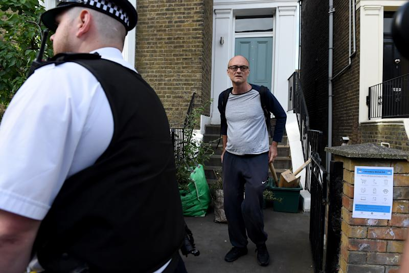 LONDON, ENGLAND - MAY 26: Chief Advisor to Prime Minister Boris Johnson, Dominic Cummings leaves his home on May 26, 2020 in London, England. On March 31st 2020 Downing Street confirmed to journalists that Dominic Cummings, senior advisor to British Prime Minister Boris Johnson, was self-isolating with COVID-19 symptoms at his home in North London. Durham police have confirmed that he was actually hundreds of miles away at his parent's house in the city having travelled with his wife and young son. (Photo by Kate Green/Anadolu Agency via Getty Images)