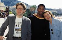 """FRANCE - MAY 21: Cannes Film Festival: Emma Thompson & team of movie """"Much Ado about Nothing"""" in Cannes, France on May 21, 1993 - Kenneth Branagh, Denzel Washington and Emma Thompson. (Photo by Pool BENAINOUS/REGLAIN/Gamma-Rapho via Getty Images)"""