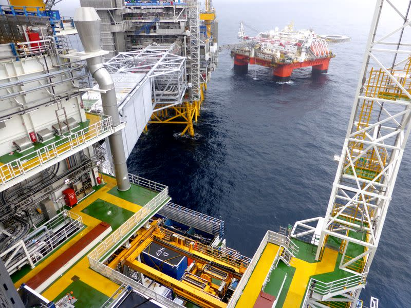 FILE PHOTO: A view of Equinor's oil platform in Johan Sverdrup oilfield in the North Sea, Norway