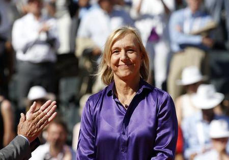 Former tennis player Martina Navratilova attends the trophy ceremony after Serena Williams of the U.S. won her women's singles final match against Lucie Safarova of the Czech Republic at the French Open tennis tournament at the Roland Garros stadium in Paris, France, June 6, 2015. REUTERS/Jean-Paul Pelissier/Files