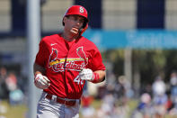 St. Louis Cardinals' Paul Goldschmidt rounds the bases after hitting a solo home run during the first inning of a spring training baseball game against the New York Mets Friday, Feb. 28, 2020, in Port St. Lucie, Fla. (AP Photo/Jeff Roberson)