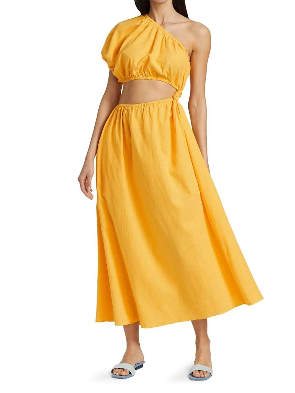 <p>This <span>Farm Rio One-Shoulder Open-Waist Midi Dress</span> ($200) is a must for your next vacation. </p>
