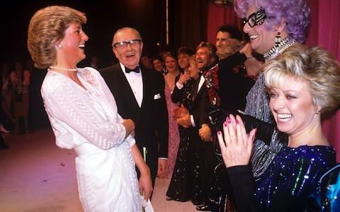 Elaine Paige (right) at the London Palladium in 1987 - Credit: Rex