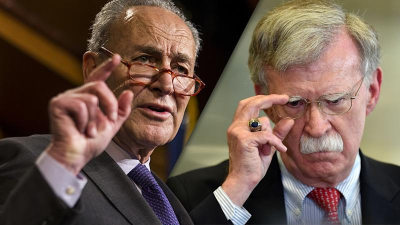 Senate Minority Leader Chuck Schumer and John Bolton.(Photos: Zach Gibson/Bloomberg via Getty Images, Sergei Gapon/AFP via Getty Images