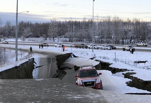Alaska crumbled road earthquake