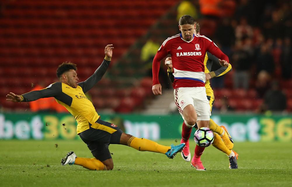 Alex Chamberlain operates on the right of a back three for Arsenal in the game at the Riverside