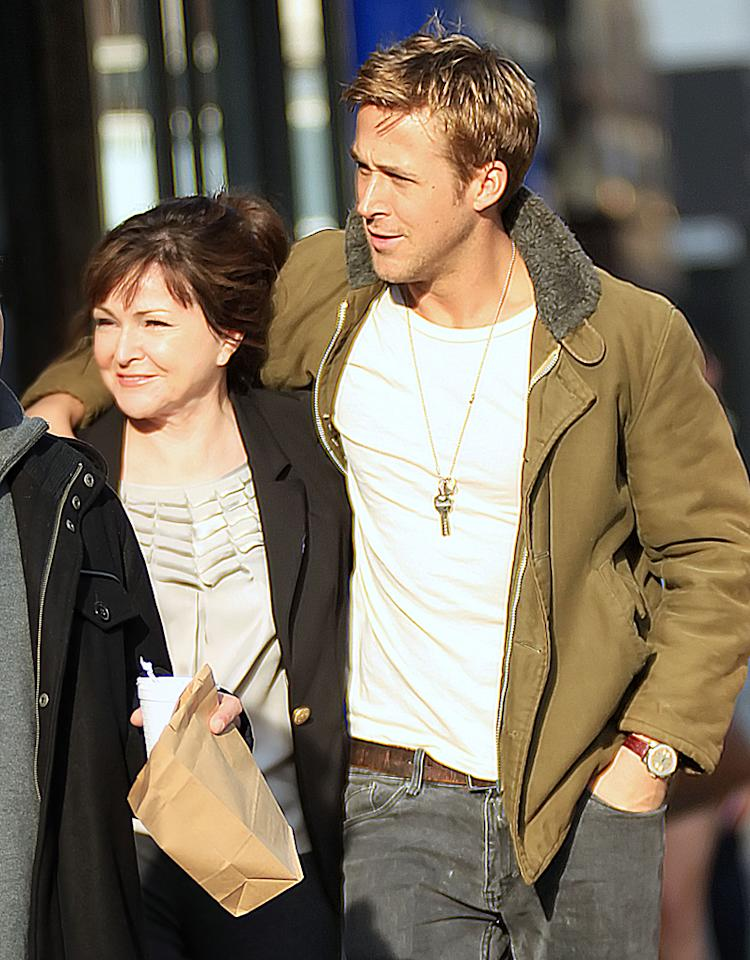 Ryan Gosling and mom Donna Gosling take a walk in NYC.