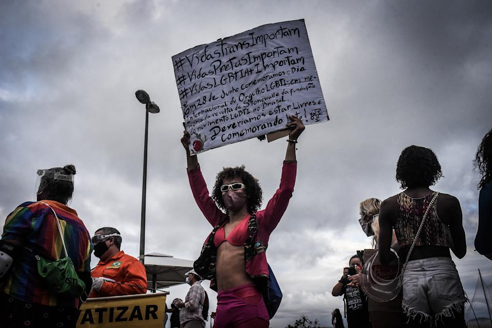 People take part in a demonstration against the government of President Jair Bolsonaro, in Rio de Janeiro, Brazil, on June 29, 2020. (Photo by Fabio Teixeira/NurPhoto via Getty Images)