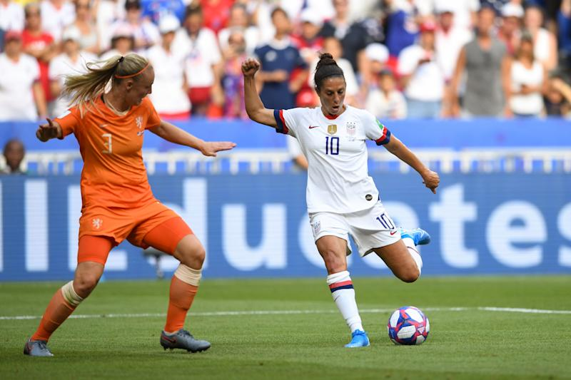 Carli Lloyd is seriously considering taking her foot to the NFL. (Photo by Brad Smith/isiphotos.com/Getty Images)