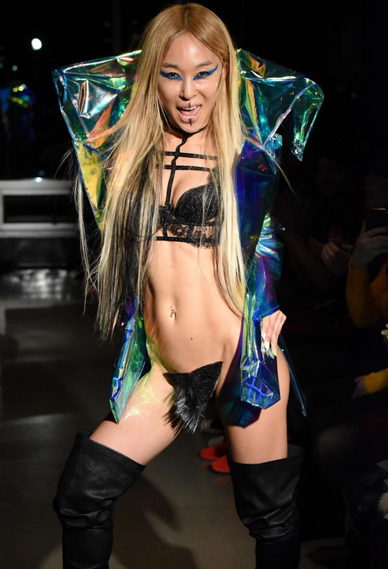 South Korean-born designer Kaimin, who has previously dressed eccentric stars like Lady Gaga and Bjork, has brought vagina wigs to the runway. Photo: Getty Images