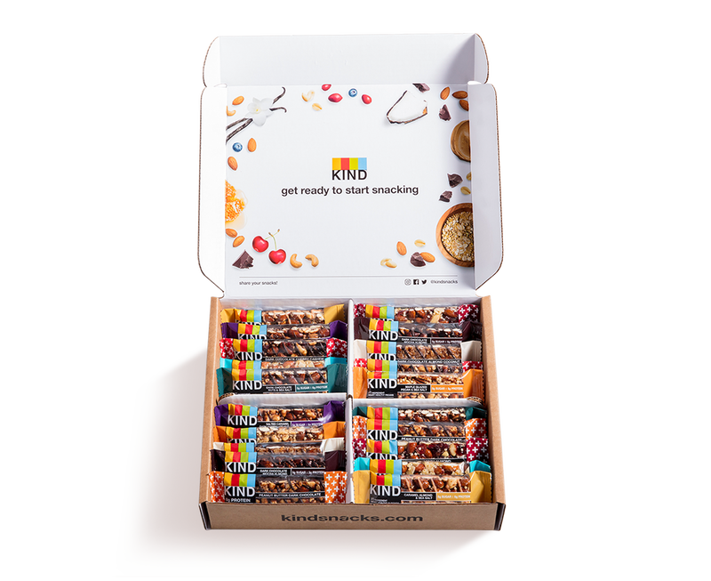 """The KIND Snack Club allows you to easily stock up on your favorite bars. You can choose a 20-count or 40-count box, and you can curate your own selection from 73 different types of bars. As an added bonus, each box comes with additional samples. $29.99, Kind. <a href=""""https://www.kindsnacks.com/build-your-own-box-MBYOB.html"""" rel=""""nofollow noopener"""" target=""""_blank"""" data-ylk=""""slk:Get it now!"""" class=""""link rapid-noclick-resp"""">Get it now!</a>"""