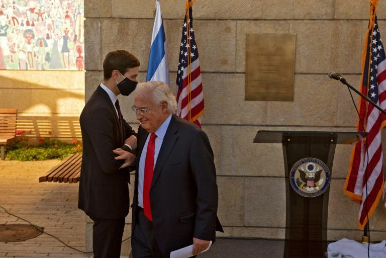 Then president Donald Trump's son-in-law and adviser Jared Kushner and his ambassador to Israel, David Friedman, dedicate a plaque in December 2020 at the embassy that Trump moved to Jerusalem