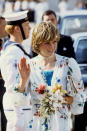 <p>Following her wedding to Prince Charles, Diana adopted a straighter crop. Here, she accompanies the look with her first ever piece of pearl jewellery and a floral dress.<br><em>[Photo: PA]</em> </p>