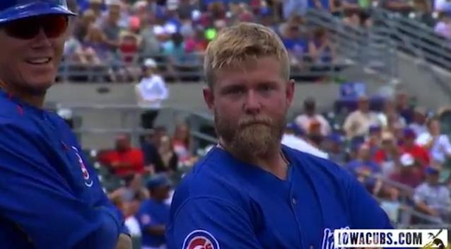 """Taylor Davis' stare says """"Come hither."""" (Twitter/@IowaCubs)"""