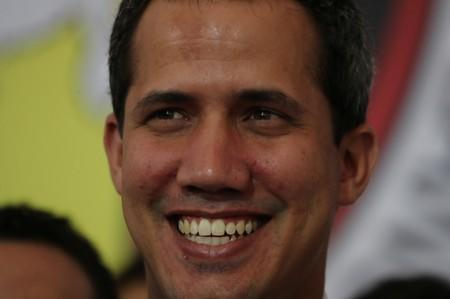Venezuelan opposition leader Juan Guaido, who many nations have recognized as the country's rightful interim ruler, attends a political rally in Caracas