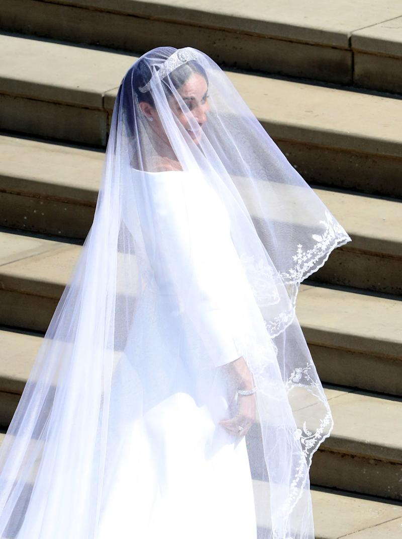 An aerial view of Meghan Markle's veil and tiara as she enters Windsor Castle.