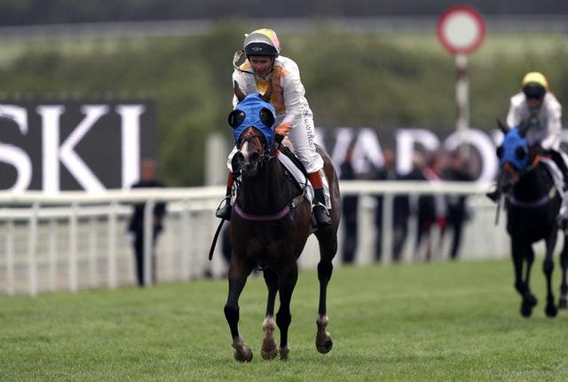 Horse called Duck and Dumplings and ridden by Baroness Dido Harding wins the Magnolia Cup Goodwood Ladies' Charity Race