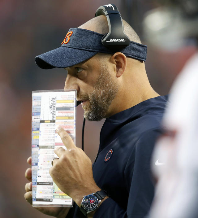 FILE - In this Aug. 18, 2018, file photo, Chicago Bears head coach Matt Nagy watches during the first half of a preseason NFL football game against the Denver Broncos, in Denver. Chicago fired coach John Fox after finishing 5-11 and replaced him with the offensive-minded Matt Nagy. (AP Photo/David Zalubowski, File)