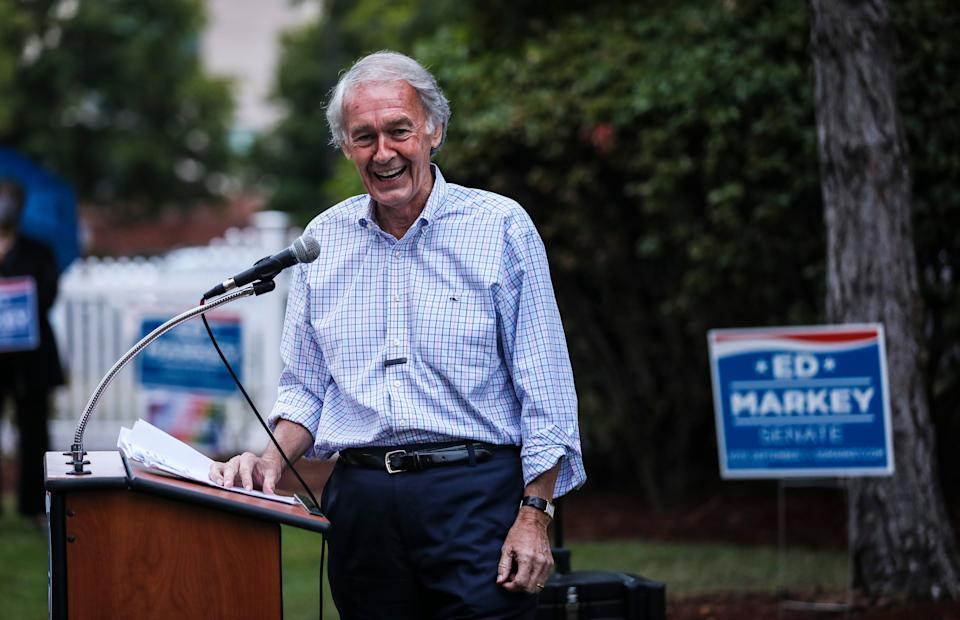 Sen. Ed Markey has transformed himself into an icon for progressive youth in his mission to fend off a challenge from Rep. Joe Kennedy III. (Photo: Erin Clark/The Boston Globe/Getty Images)