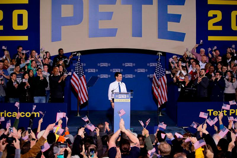 South Bend Mayor Pete Buttigieg speaks as he announces his presidential candidacy for 2020 during an event on Sunday, April 14, 2019 in South Bend, Indiana.