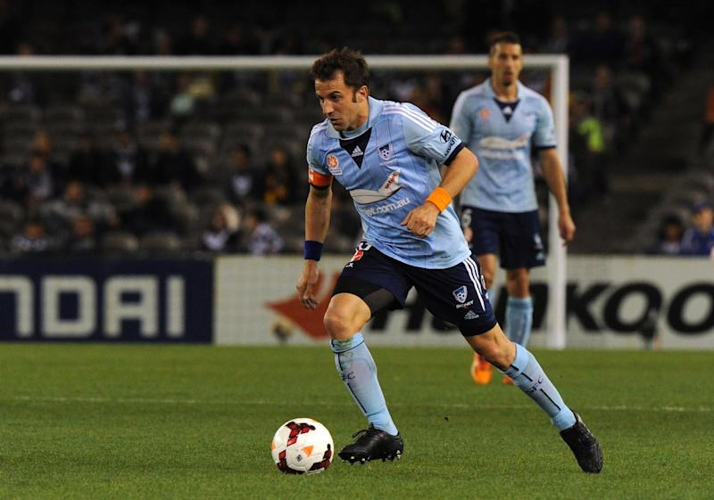 Sydney FC player Alessandro Del Piero controls the ball during their A-League football elimination match against the Melbourne Victory in Melbourne on April 18, 2014