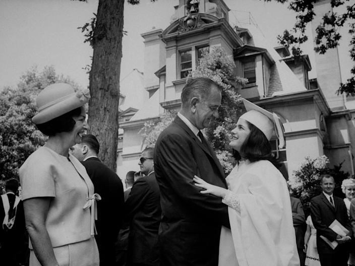 Lyndon B. Johnson at his daughter Lucy's graduation in 1965.