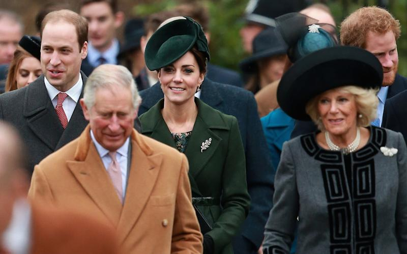 Prince William, Prince Charles, Catherine, Duchess of Cambridge, and Camilla, Duchess of Cornwall attend a Christmas Day church service at Sandringham, December 2015.