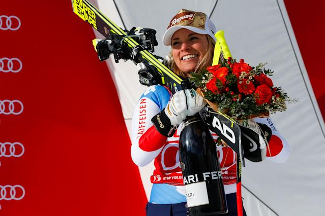 <p>Lara Gut of Switzerland takes 1st place during the Audi FIS Alpine Ski World Cup Women's Super G on January 21, 2018 in Cortina d'Ampezzo, Italy. (Photo by Christophe Pallot/Agence Zoom/Getty Images) </p>