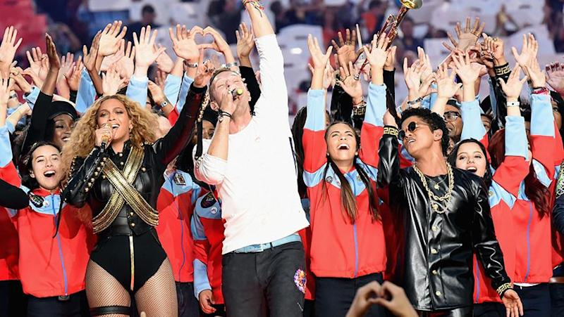 Beyonce, Chris Martin and Bruno Mars on the stage at the Super Bowl. Photo: Getty