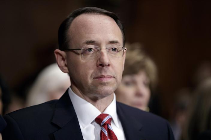 Rod Rosenstein on Capitol Hill during his confirmation hearing before the Senate Judiciary Committee. (AP)