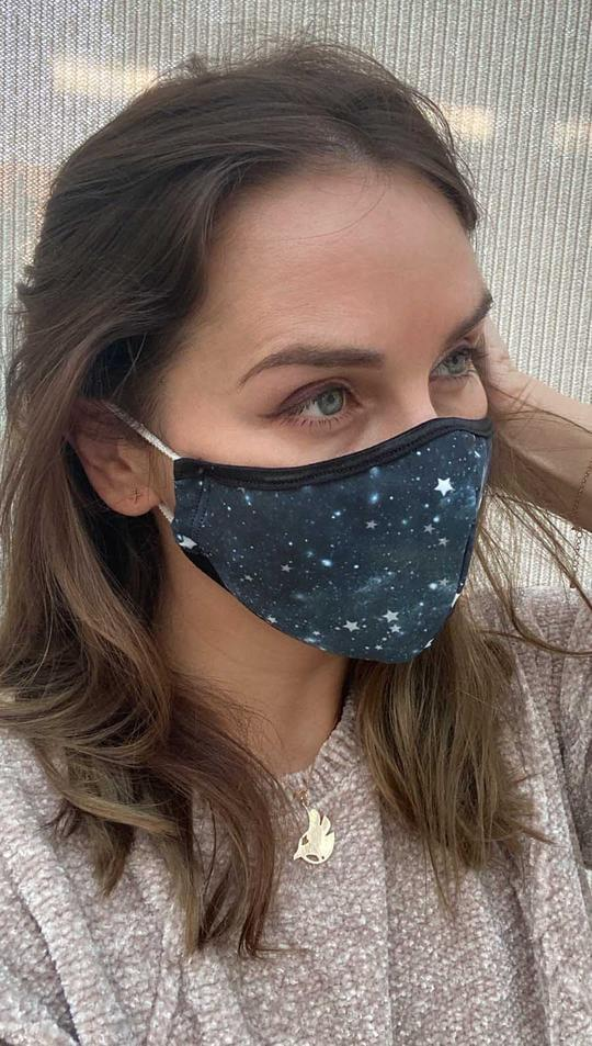 <p>Made out of soft athleisure fabric, this <span>Werkshop Starry Night Face Mask</span> ($26) features two thick layers of fabric at the nose and mouth areas. A percentage of the proceeds for these face masks will be donated to COVID-19 disaster relief. </p>