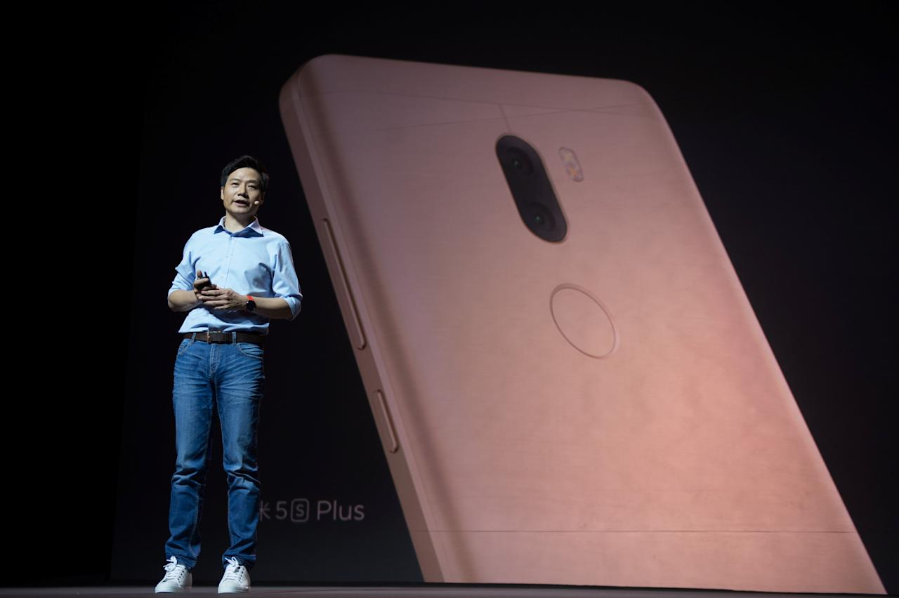 Lei Jun, founder and CEO of China's mobile company Xiaomi speaks during a launch of the company's new products in Beijing, China, September 27, 2016. Picture taken September 27, 2016. REUTERS/Stringer ATTENTION EDITORS - THIS IMAGE WAS PROVIDED BY A THIRD PARTY. EDITORIAL USE ONLY. CHINA OUT. NO COMMERCIAL OR EDITORIAL SALES IN CHINA.           TPX IMAGES OF THE DAY