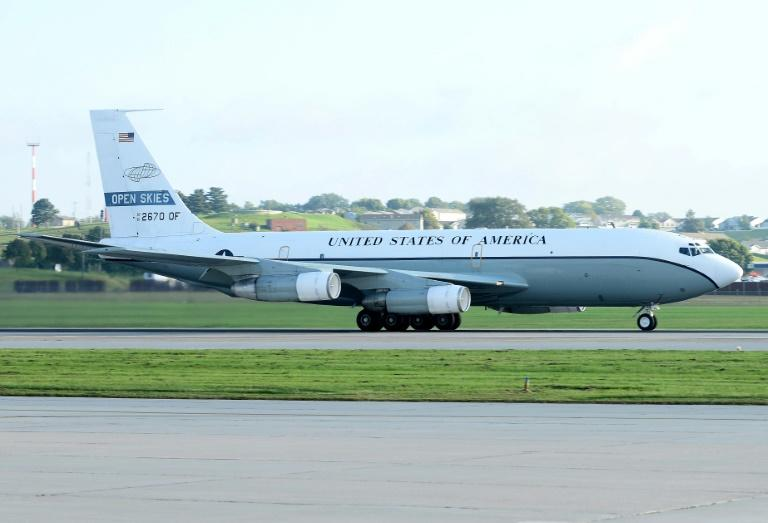 A US Air Force OC-135 aircraft used for surveillance of Russia under the Open Skies Treaty
