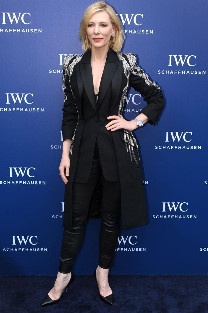 <p>For the IWC Schaffhausen event in Shanghai on November 8, actress Cate Blanchett chose a slick Alexander McQueen suit. She finished the ensemble with a lick of lipstick and co-ordinating heels. <em>[Photo: Getty]</em> </p>