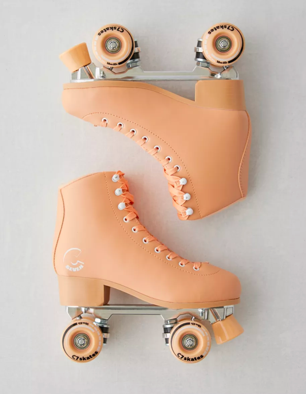 "Thank god <a href=""https://www.glamour.com/story/where-to-buy-roller-skates?mbid=synd_yahoo_rss"" rel=""nofollow noopener"" target=""_blank"" data-ylk=""slk:roller skates"" class=""link rapid-noclick-resp"">roller skates</a> are back, and these peachy beauties are just waiting to take a spin with the TikTok queen in your life. $139, Urban Outfitters. <a href=""https://www.urbanoutfitters.com/shop/c7skates-premium-quad-roller-skate"" rel=""nofollow noopener"" target=""_blank"" data-ylk=""slk:Get it now!"" class=""link rapid-noclick-resp"">Get it now!</a>"