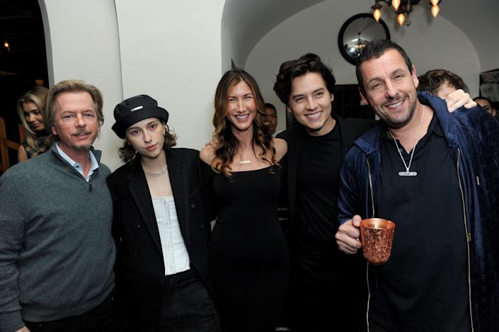 "David Spade, King Princess, Jackie Sandler, Cole Sprouse and Adam Sandler attend the Los Angeles premiere of ""Uncut Gems"" on Wednesday. (Photo: Joshua Blanchard via Getty Images)"