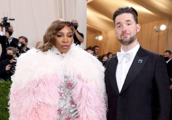 A close up ofSerena Williams and Alexis Ohanian as they pose on the Met Gala red carpet