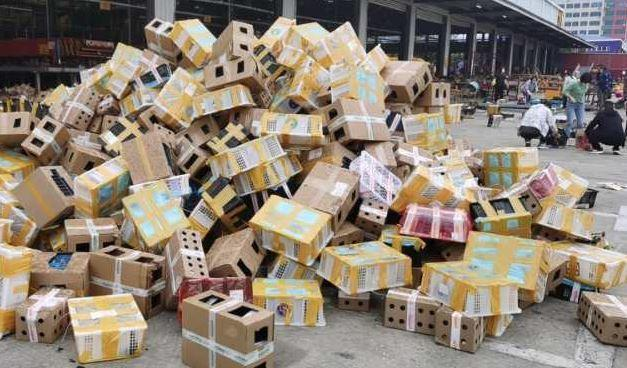 Boxes that had contained live rabbits, guinea pigs, cats and dogs without food or water are seen at the Dongxing Logistics station in Luohe city, in China's Henan province, in a photo provided by the Utopia animal rescue charity. / Credit: Utopia/Sister Hua