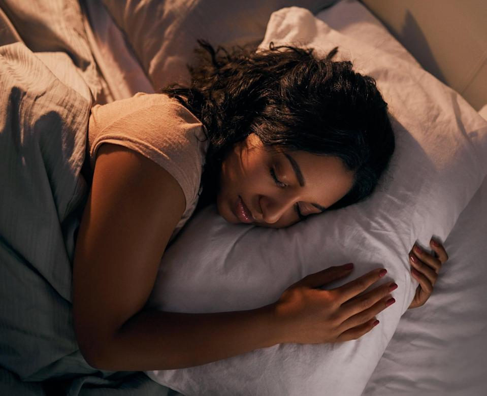 """<p>""""Gently repeat a mantra to yourself to help you transition into a restful state,"""" Atluri said. """"A mantra is a vehicle for your mind to keep you present and can serve as a reminder of the state you are trying to achieve. For sleep, try out the mantra, 'I am ready to rest and recover.'""""</p>"""