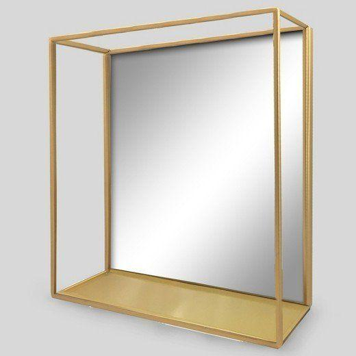 """Get it at <a href=""""https://www.target.com/p/decorative-wall-mirror-and-shelf-brass-project-62-153/-/A-52446727#lnk=newtab"""" target=""""_blank"""">Target, $40</a>."""
