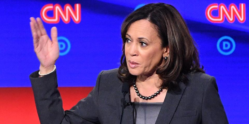 CNN anchor Don Lemon confronted Kamala Harris at the Democratic debate over her previous statements saying that if she's president, she'll have the DOJ prosecute Trump