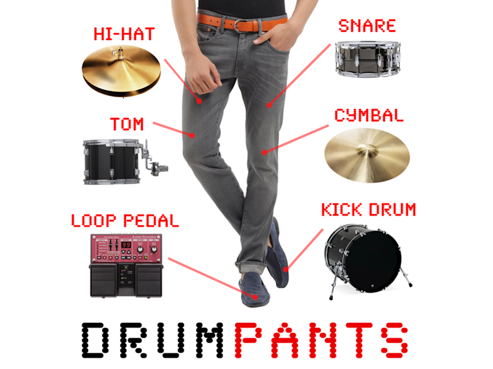 """<p>It's a piece of clothing! No, it's a sophisticated electronic percussion triggering device! No, it's two, two, <i>two</i> utterly necessary items for daily living in one! The testimonials on the DrumPants website assure us that this is used by real musicians who like to get slap-happy on their thighs – or elsewhere below the belt – and have the sound come out as something synthesized and a lot more fun than the mere clap of stricken flesh. But you obviously don't have to be a """"real"""" drummer to get a kick (or kick drum) out of wearable MIDI beats. Just know that you may have some explaining to do when people catch you plugging in your trousers. Get it <a href=""""http://www.drumpants.com"""" rel=""""nofollow noopener"""" target=""""_blank"""" data-ylk=""""slk:HERE"""" class=""""link rapid-noclick-resp"""">HERE</a>. </p>"""