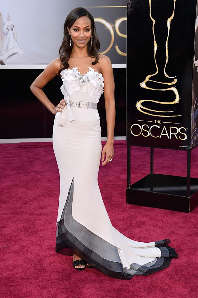 Zoe Saldana arrives at the Oscars in Hollywood, California, on February 24, 2013.