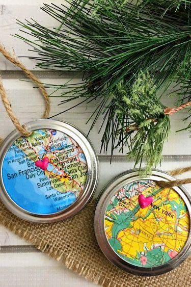 """<p>Grab a map of your birthplace or favorite destination and go to town making these map ornaments framed with Mason jar lid rings. </p><p><strong>Get the tutorial at <a href=""""https://www.happy-mothering.com/12/crafts-diy/mason-jar-ring-map-ornament/"""" rel=""""nofollow noopener"""" target=""""_blank"""" data-ylk=""""slk:Happy Mothering"""" class=""""link rapid-noclick-resp"""">Happy Mothering</a>.</strong></p><p><a class=""""link rapid-noclick-resp"""" href=""""https://www.amazon.com/Regular-Canning,Stainless-Material-Rust,Silver-Split-Type/dp/B08JVGMTC9/ref=sr_1_3_sspa?tag=syn-yahoo-20&ascsubtag=%5Bartid%7C10050.g.1070%5Bsrc%7Cyahoo-us"""" rel=""""nofollow noopener"""" target=""""_blank"""" data-ylk=""""slk:SHOP MASON JAR LID RINGS"""">SHOP MASON JAR LID RINGS</a></p>"""