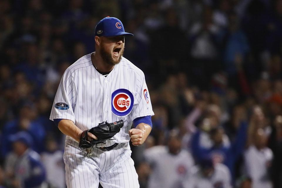 CHICAGO, IL – OCTOBER 02: Jon Lester #34 of the Chicago Cubs reacts after striking out Matt Holliday #7 of the Colorado Rockies (not pictured) for the third out in the sixth inning against the Colorado Rockies during the National League Wild Card Game at Wrigley Field on October 2, 2018 in Chicago, Illinois. (Photo by Jonathan Daniel/Getty Images)